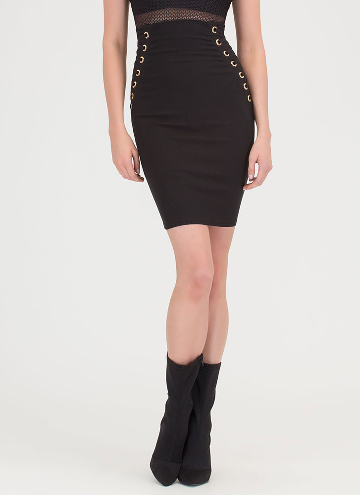 Laced It High-Waisted Pencil Skirt BLACK (Final Sale)