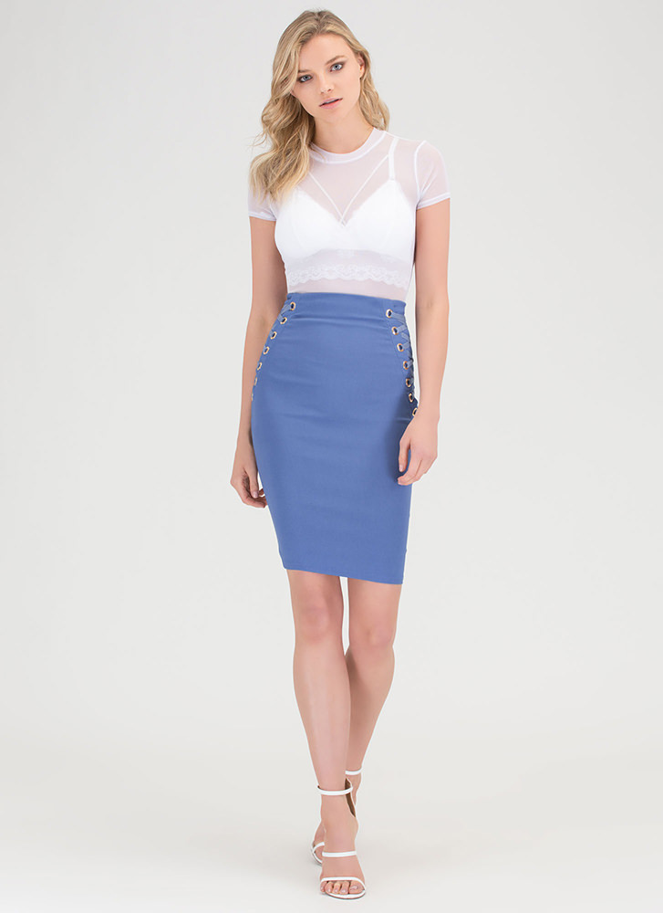 laced it highwaisted pencil skirt black blue gojanecom