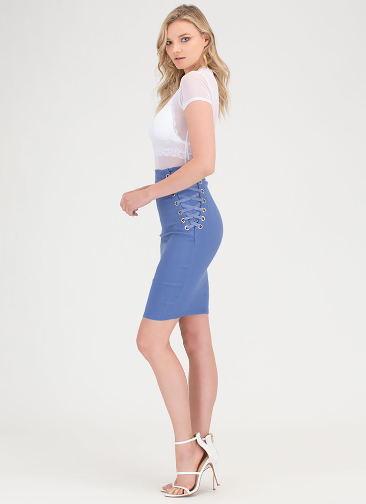Laced It High-Waisted Pencil Skirt BLUE