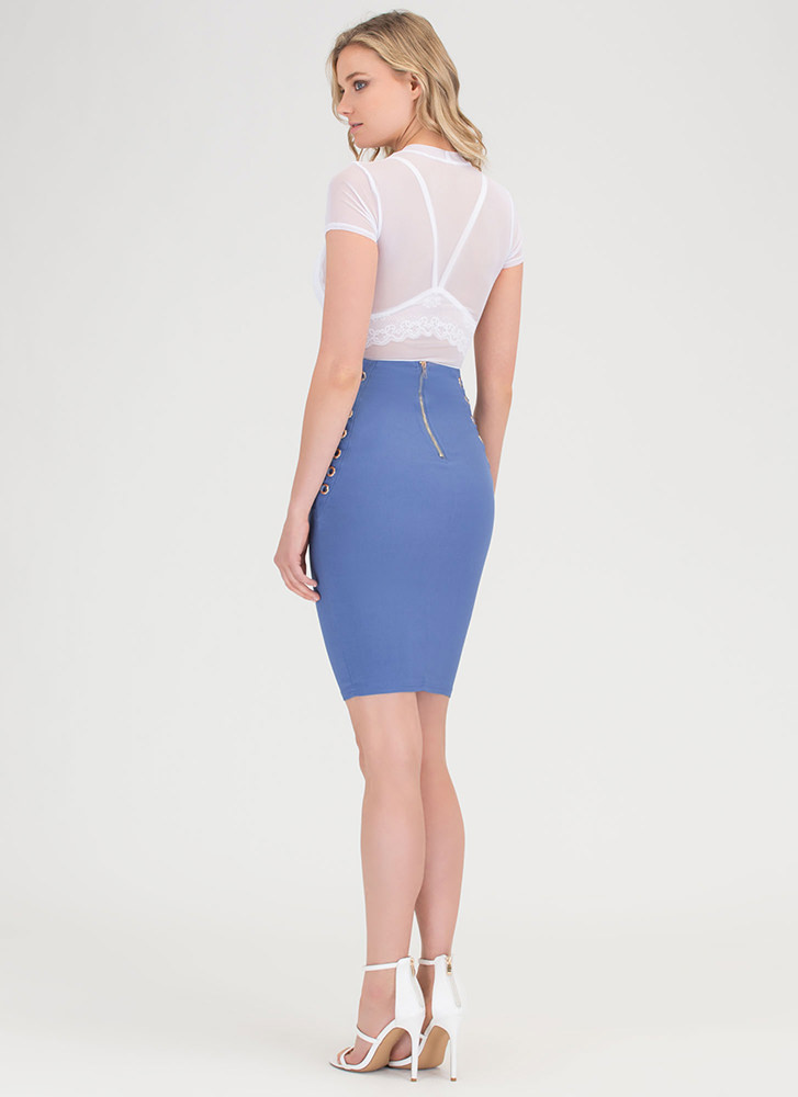 Laced It High-Waisted Pencil Skirt BLUE (Final Sale)