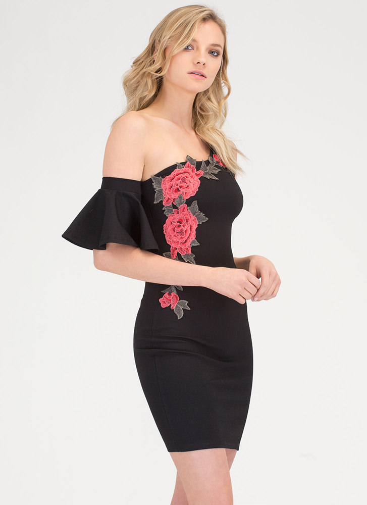 Rosy Story Ruffled One Shoulder Dress BLACK (Final Sale)