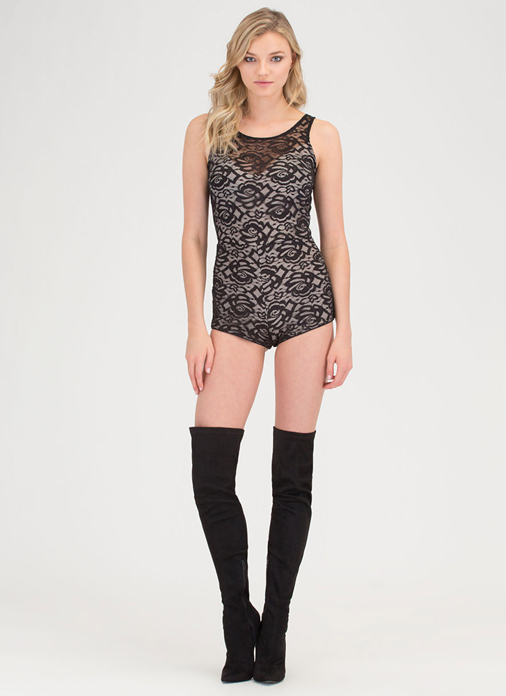 Romance Novel Tied Lace Romper BLACKNUDE