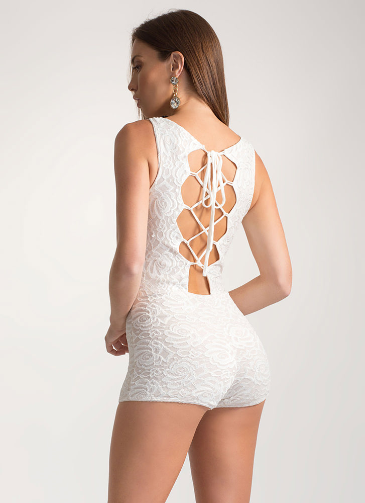 Romance Novel Tied Lace Romper WHITENUDE