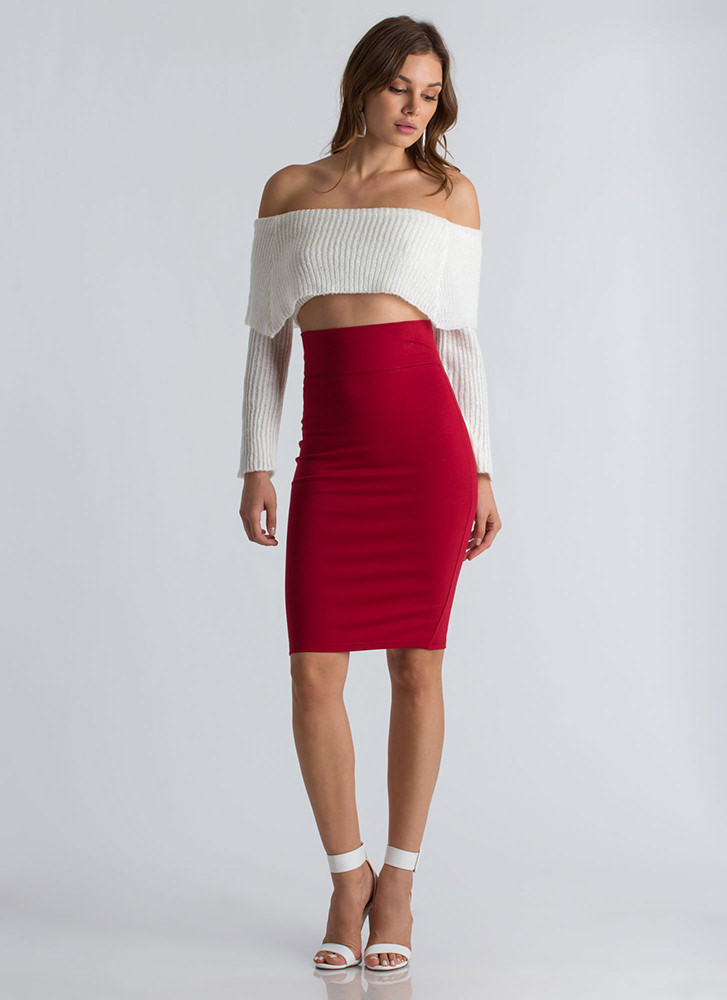 Working Hard Slit Pencil Skirt RED