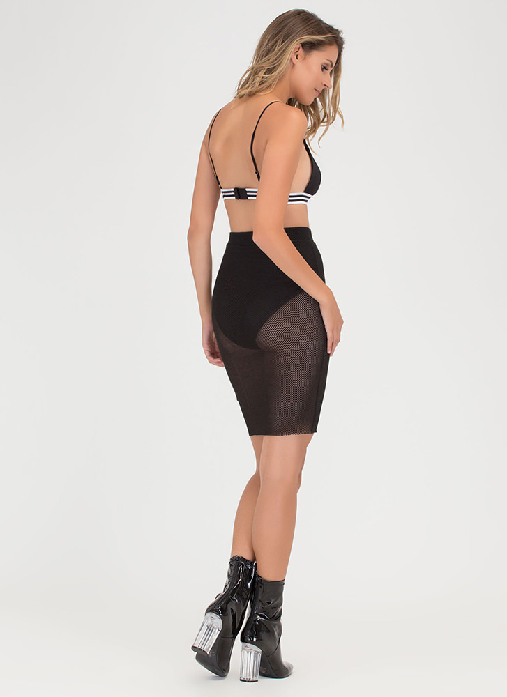 Sheer Happiness Fishnet Pencil Skirt BLACK
