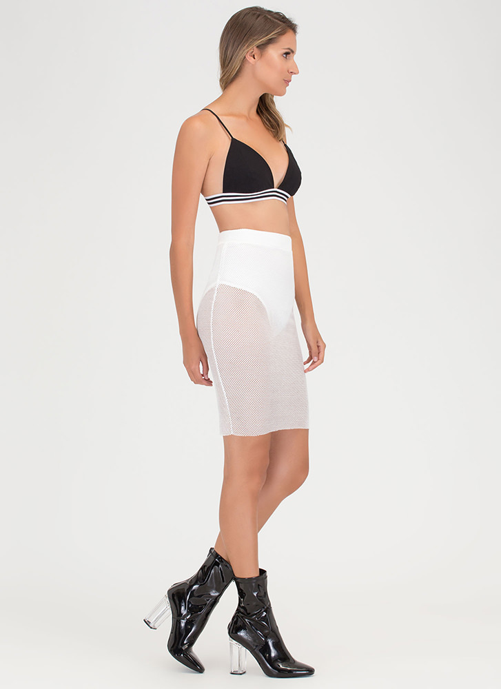 Sheer Happiness Fishnet Pencil Skirt WHITE