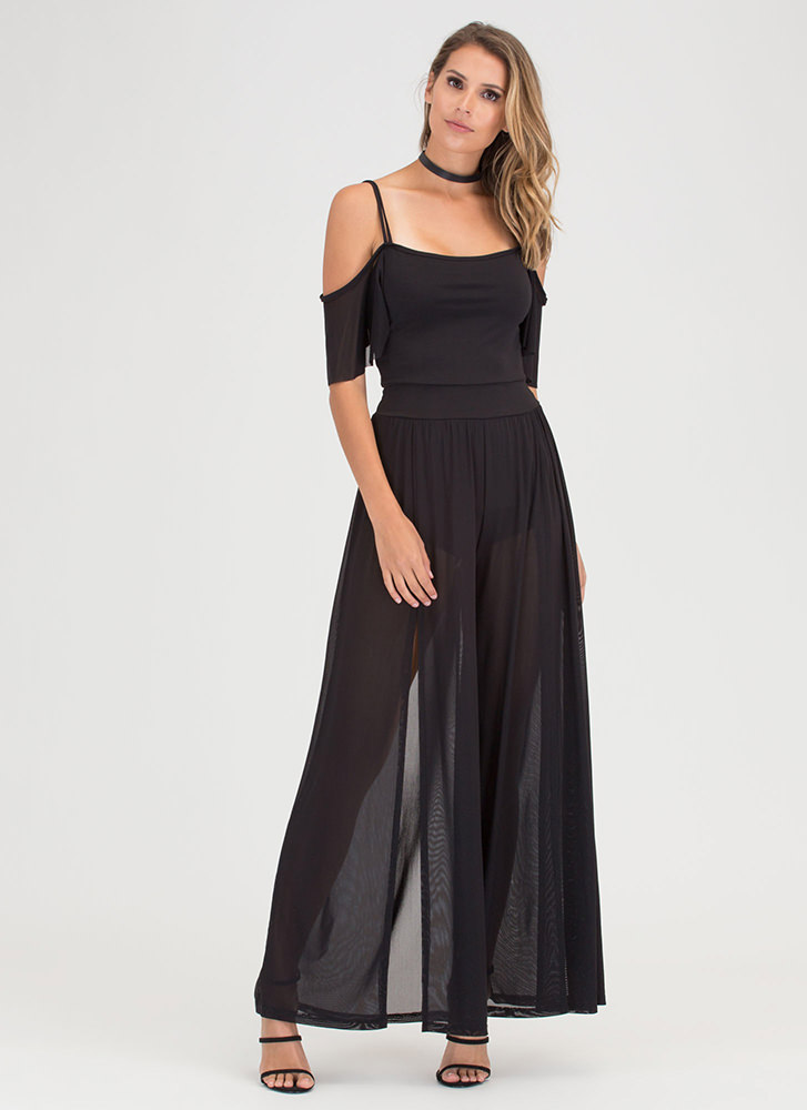 Go With The Flow Sheer Palazzo Jumpsuit BLACK