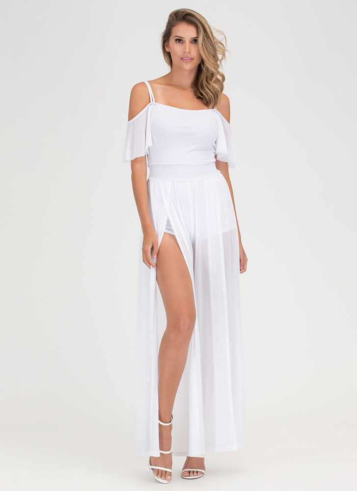 Go With The Flow Sheer Palazzo Jumpsuit WHITE