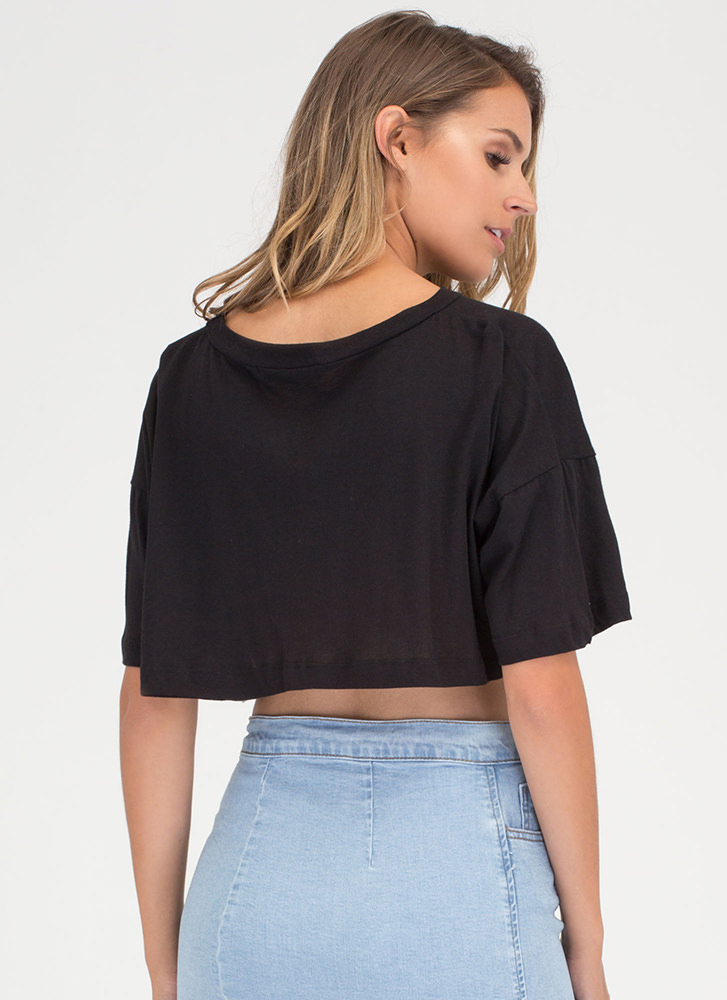 Join The Girl Gang Graphic Crop Tee BLACK