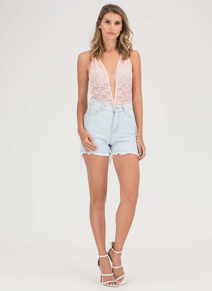 Chic Whisper Plunging Lace Bodysuit BLUSH