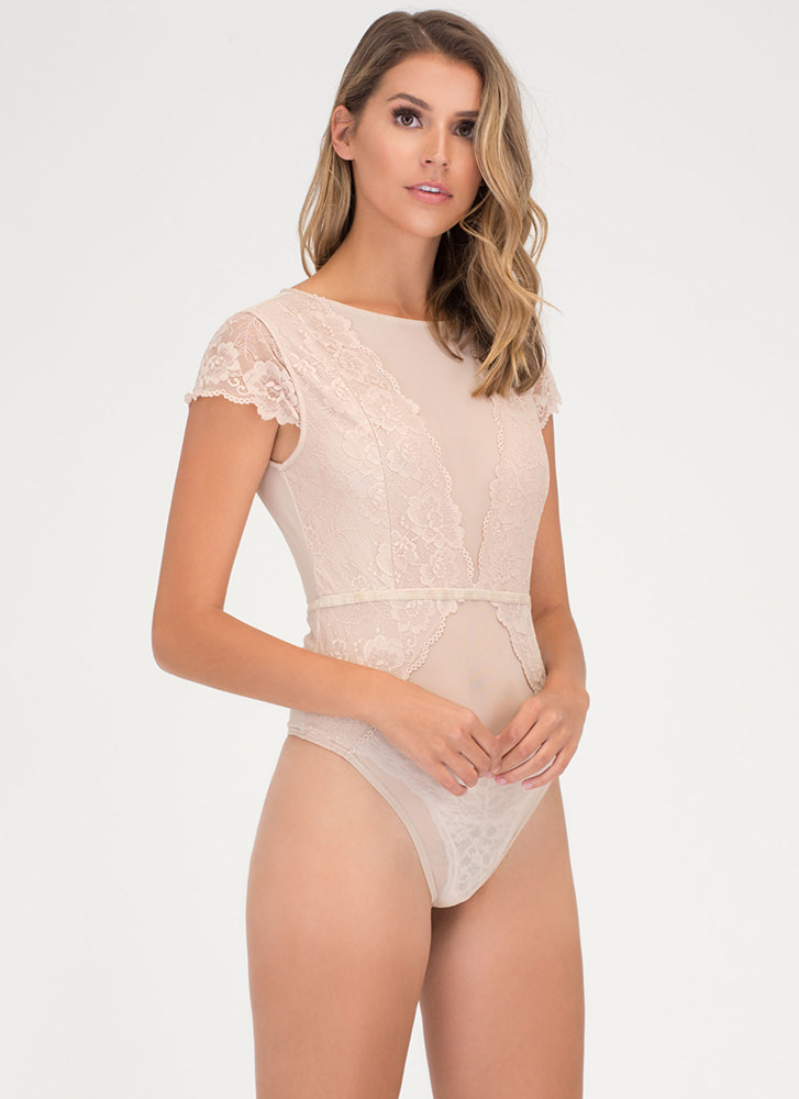 Sheer From Us Lace Mesh Bodysuit NUDE