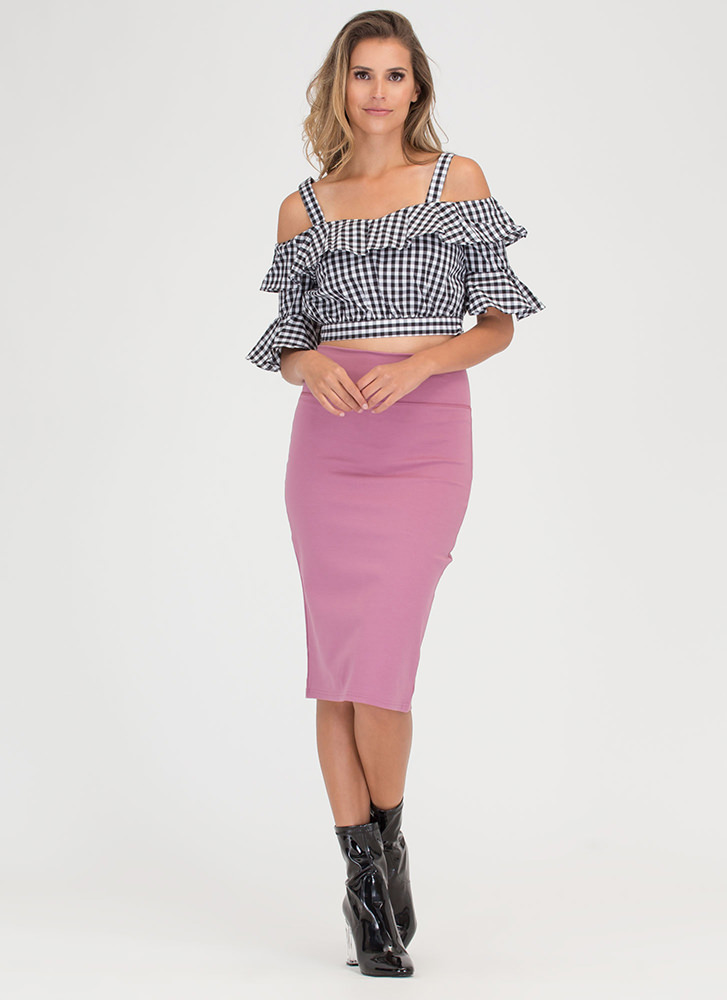 Summer Dreamin' Ruffled Gingham Top BLACKWHITE