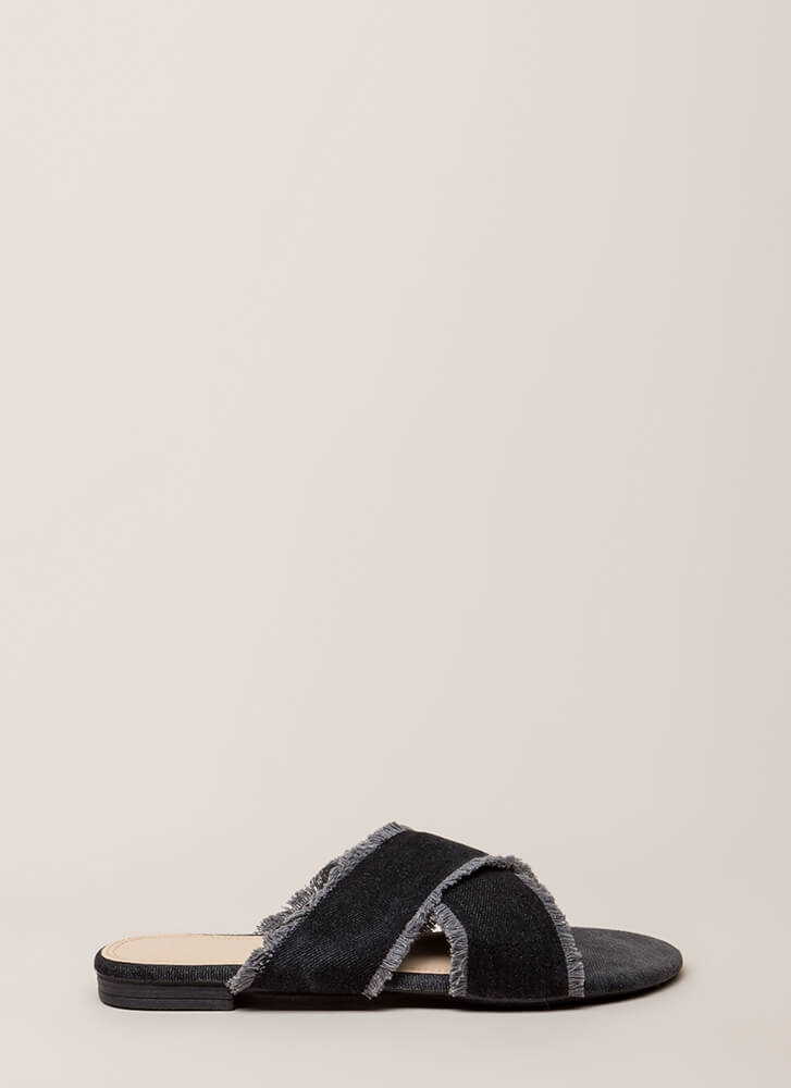 X Marks The Spot Canvas Slide Sandals BLACK