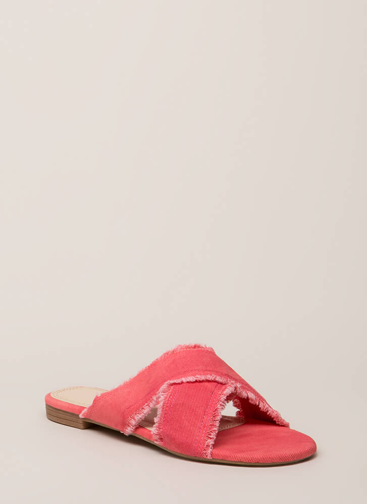 X Marks The Spot Canvas Slide Sandals PINK