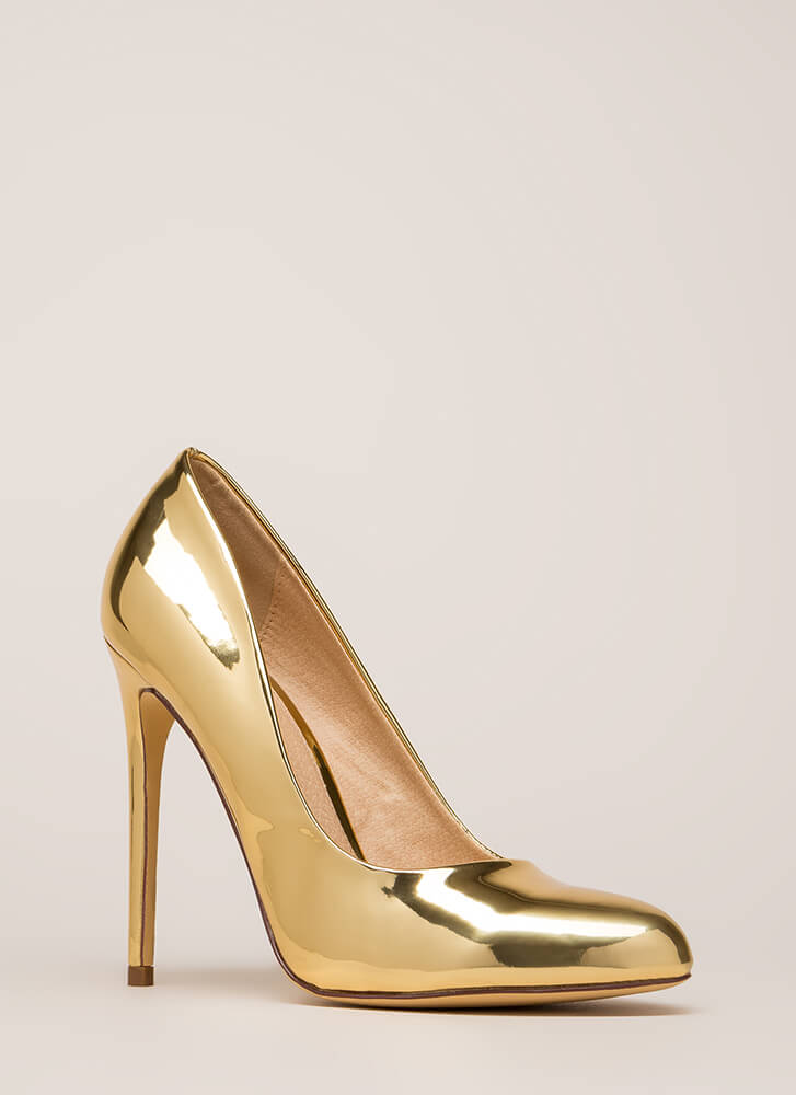 Work For It Shiny Metallic Pumps GOLD