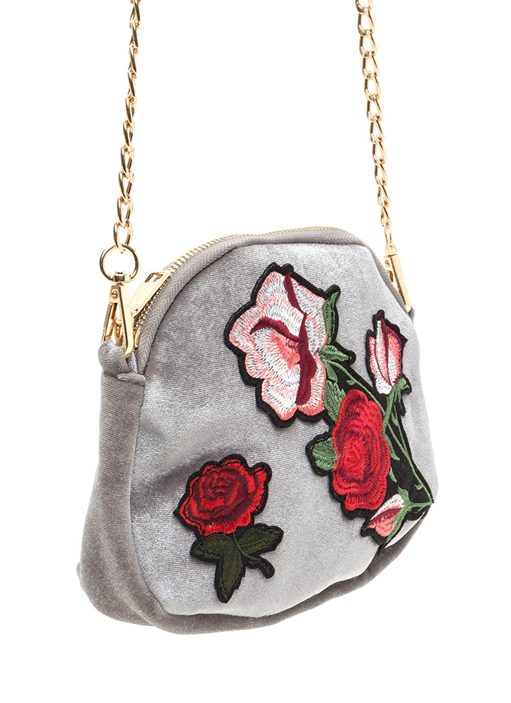 Floral Aspirations Velvet Crossbody Bag GREY
