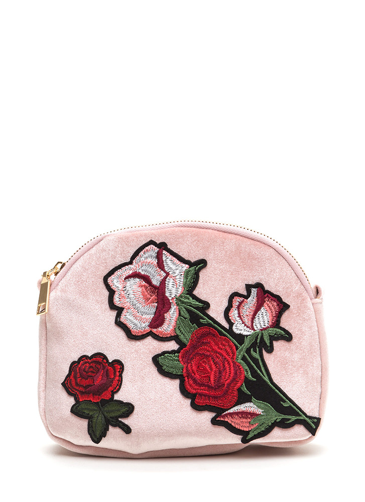 Floral Aspirations Velvet Crossbody Bag PINK