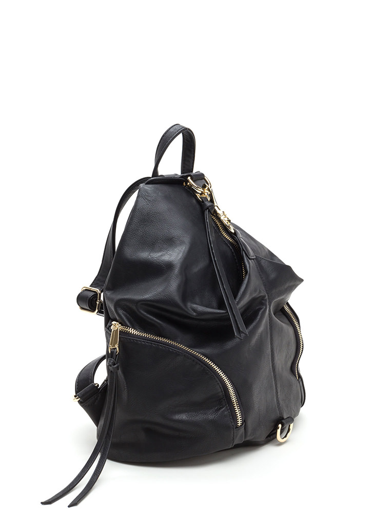 Daily Commute Faux Leather Clip Backpack BLACK
