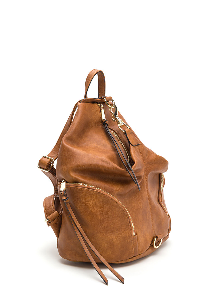 Daily Commute Faux Leather Clip Backpack COGNAC