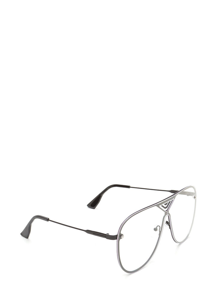 Let's Make It Clear Aviator Glasses BLACK