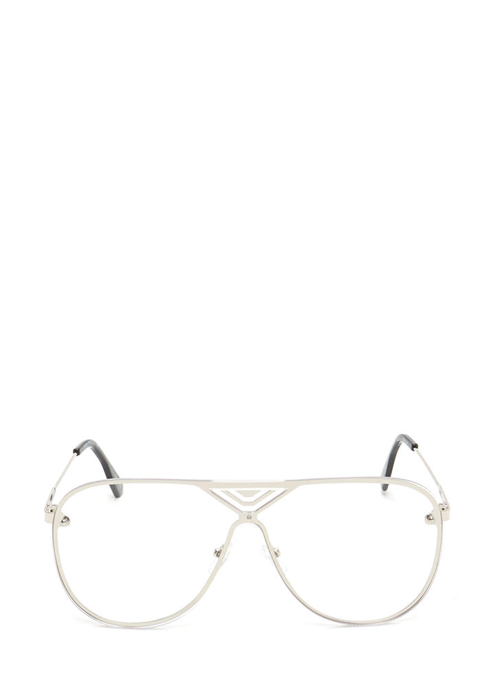 Let's Make It Clear Aviator Glasses SILVER
