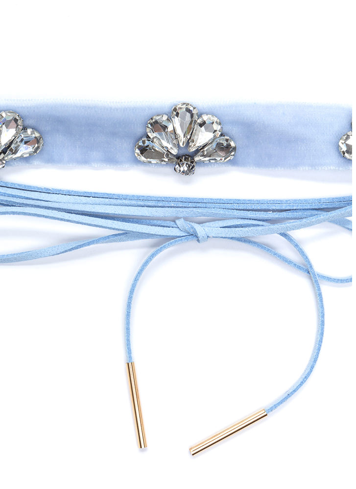 Way Two Cool Jeweled Choker Duo BLUE