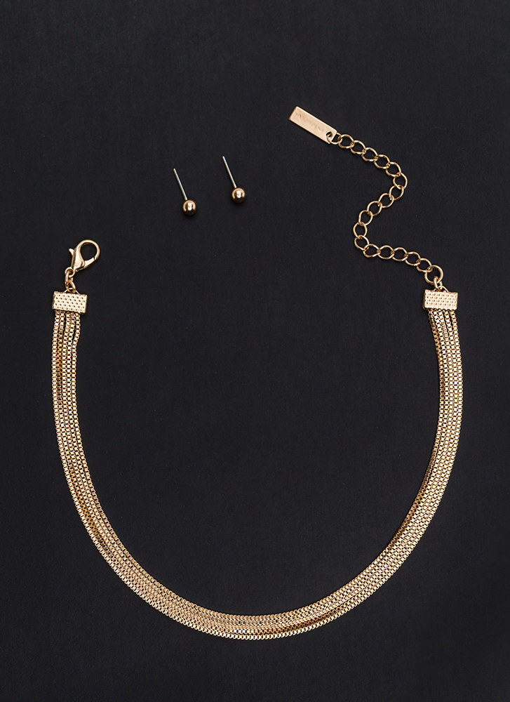 Yank Your Chain Layered Choker Set GOLD