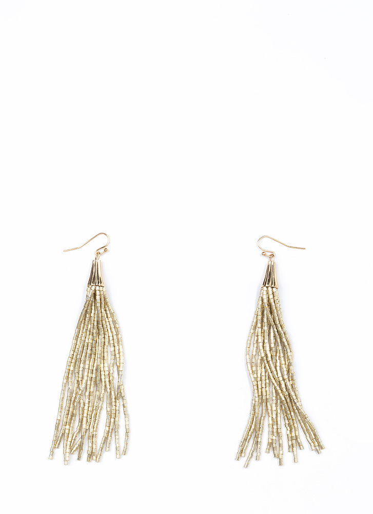 Can't Bead That Tassel Earrings GOLD
