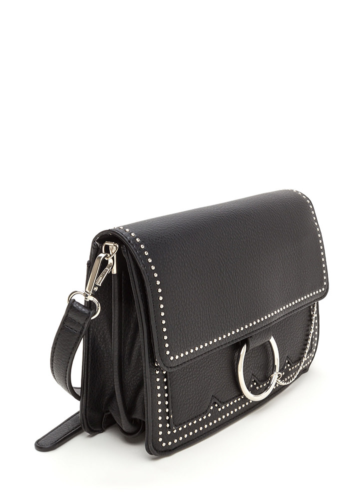 Chic Future Studded Ring 'N Chain Bag BLACK (Final Sale)