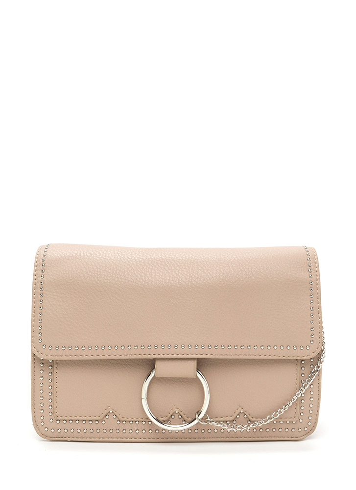 Chic Future Studded Ring 'N Chain Bag TAUPE (Final Sale)