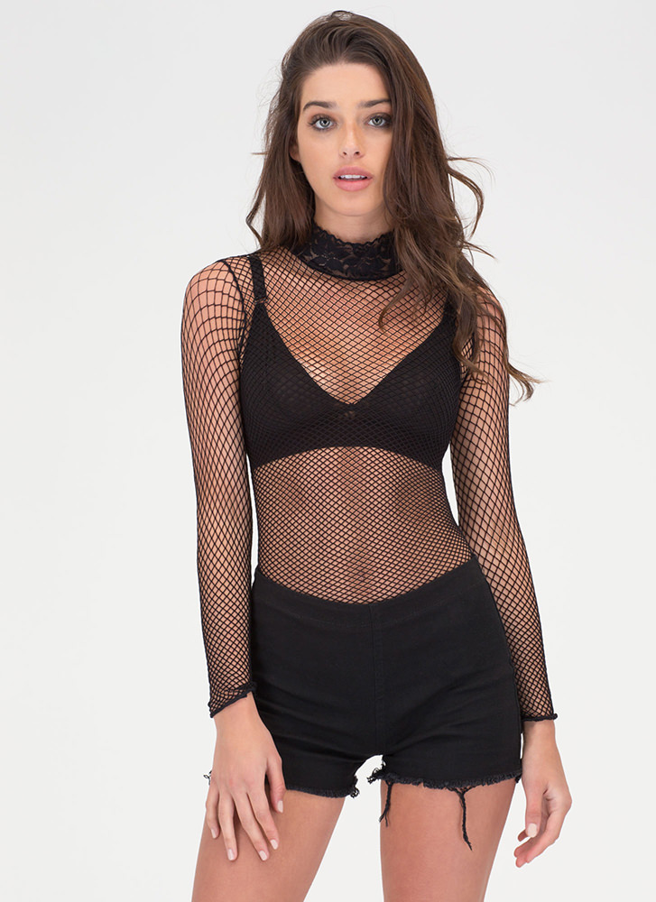 High Demand Sheer Net 'N Lace Bodysuit BLACK