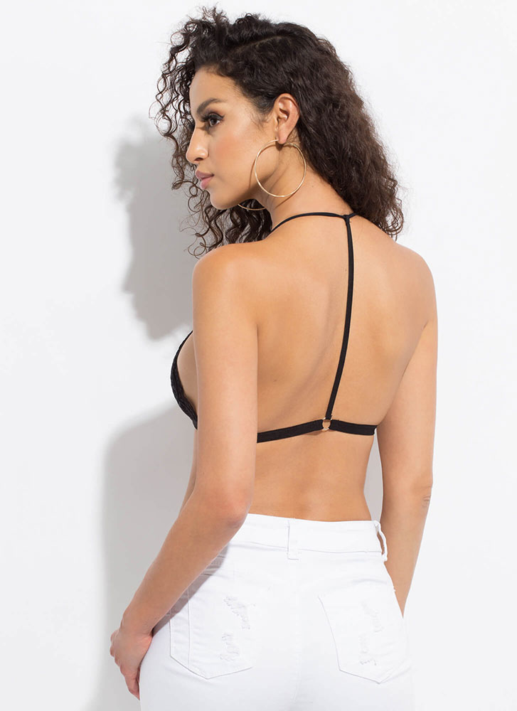 Under Discussion Caged Lace Bralette BLACK