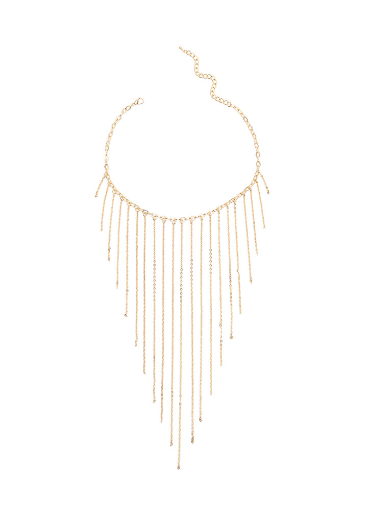 Strand Up Waterfall Chain Choker GOLD