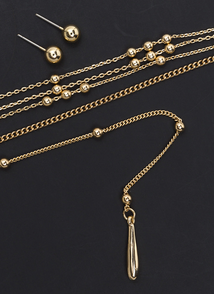 Charming Memory Y-Drop Necklace Set GOLD