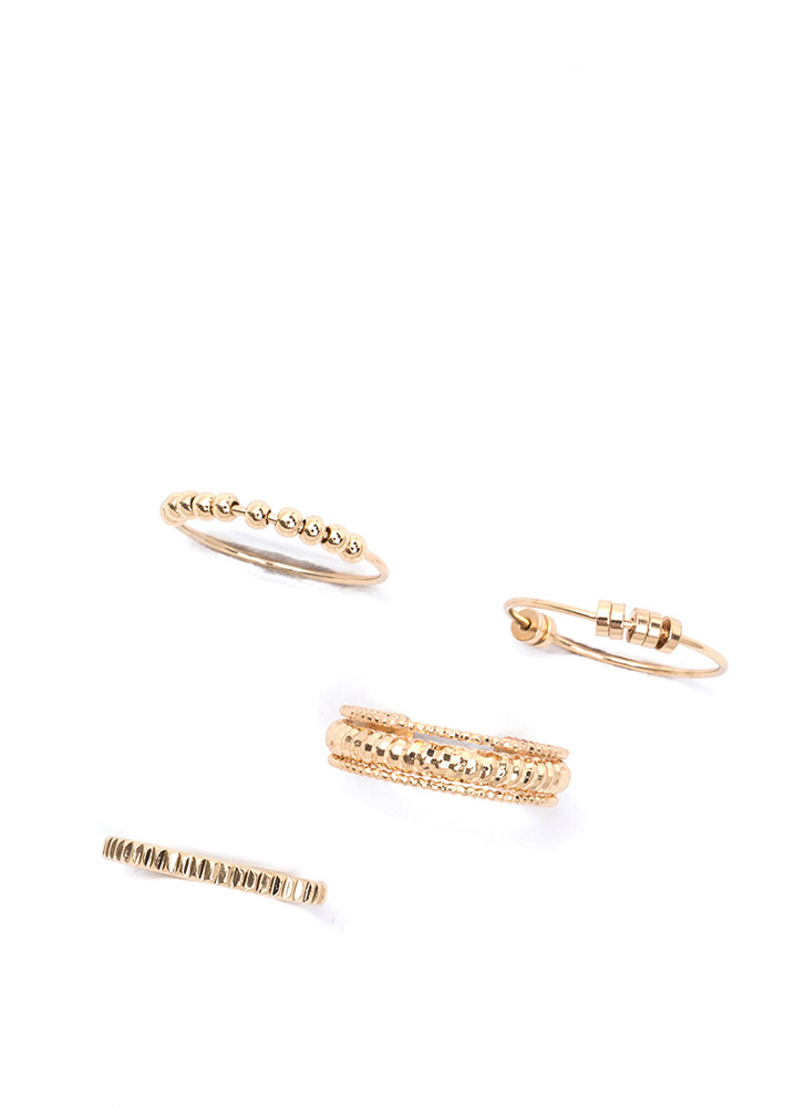 Stack At It Again Embellished Ring Set GOLD