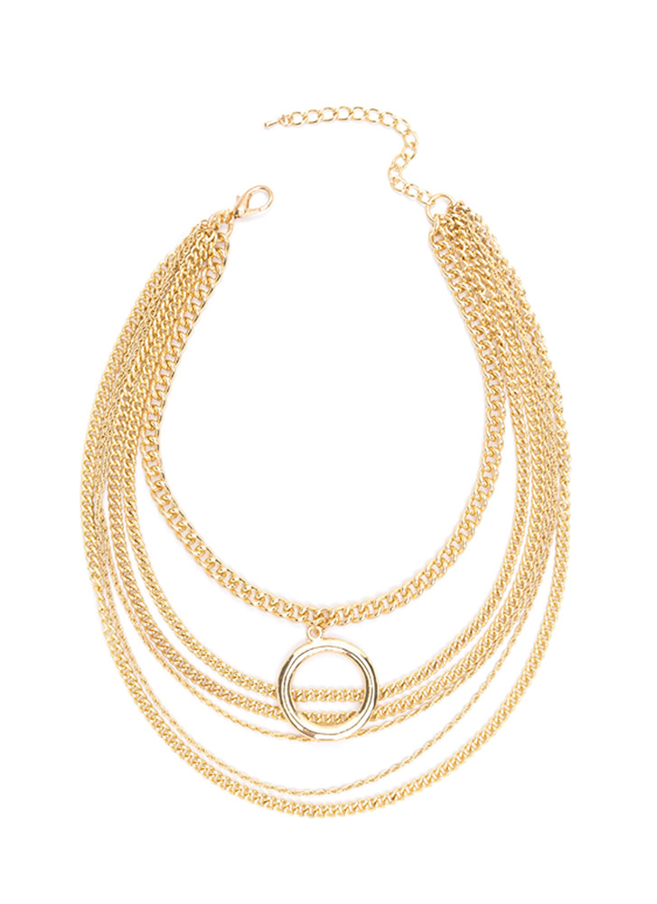 Ring Clear Draped Chain Necklace GOLD