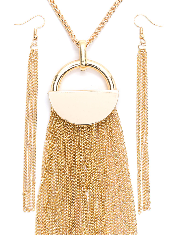 Under Lock 'N Key Fringed Necklace Set GOLD