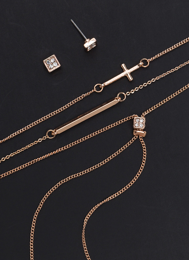 Hit The Y-Drop Layered Necklace Set ROSEGOLD