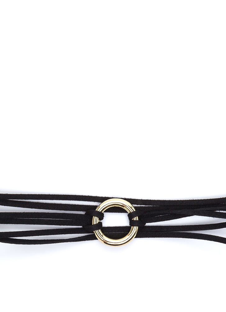 Ring It On Faux Suede Cord Choker BLACK