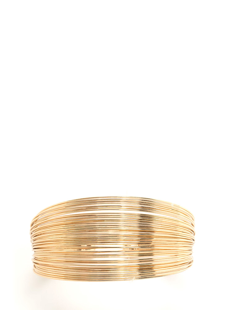 Live Wire Stacked Cuff Bracelet GOLD