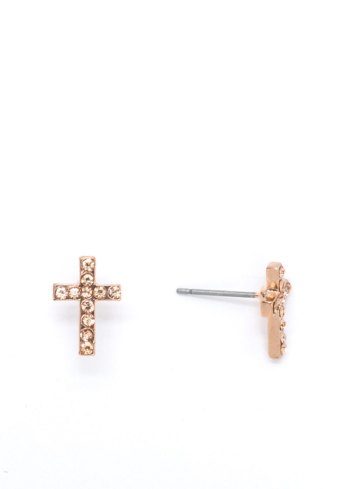 Cross Your Mind Jeweled Earrings ROSEGOLD