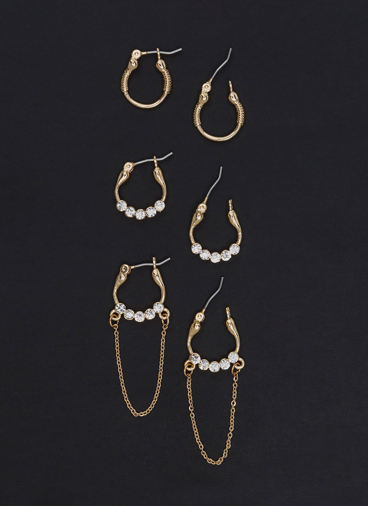 Jewel Together Sparkly Hoop Earring Set GOLD