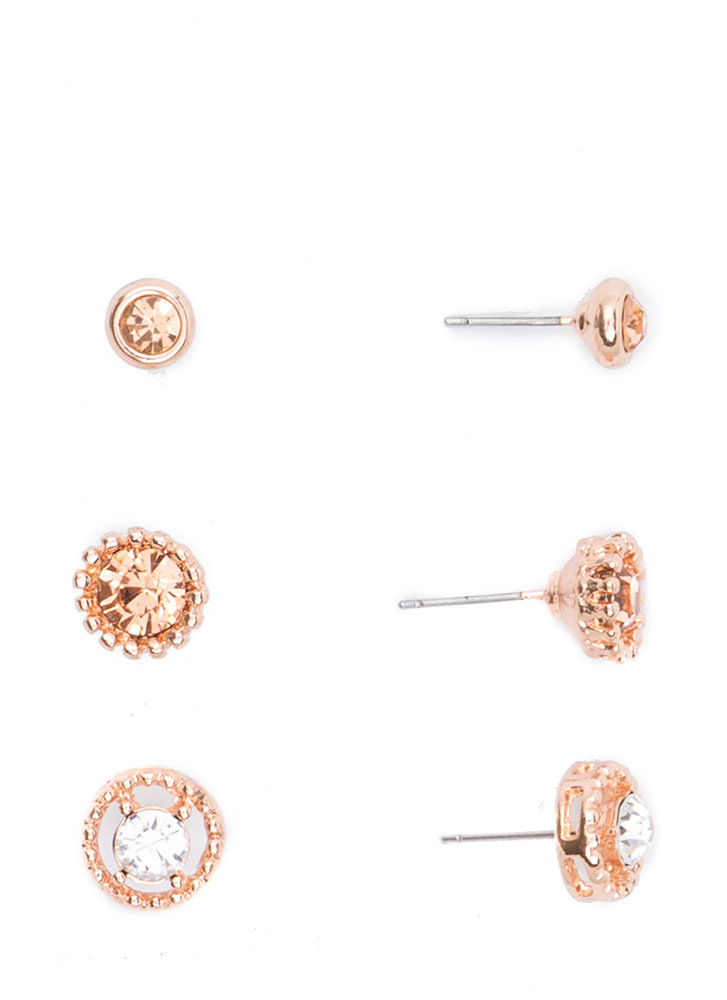 Precious Jewels Textured Earring Set ROSEGOLD