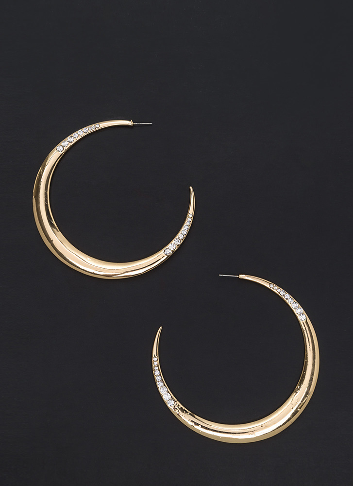 Moon River Jeweled Crescent Earrings GOLD