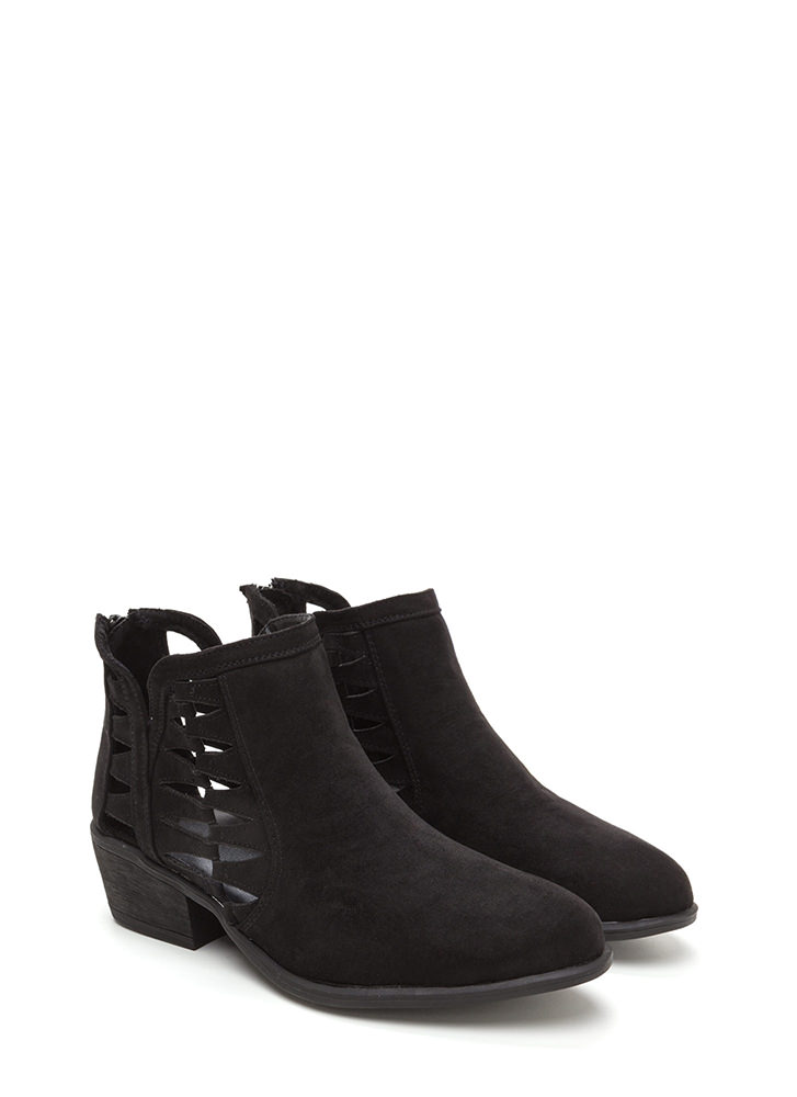 Daily Flow Cut-Out Chunky Booties BLACK (Final Sale)