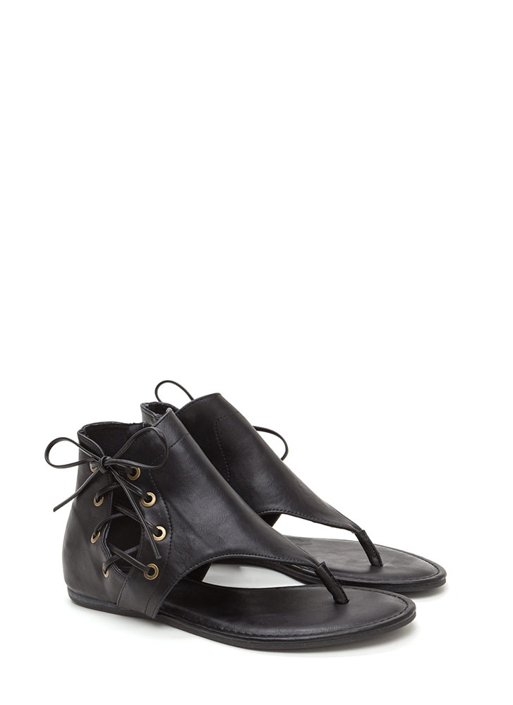 Tie Low Cut-Out Faux Leather Sandals BLACK