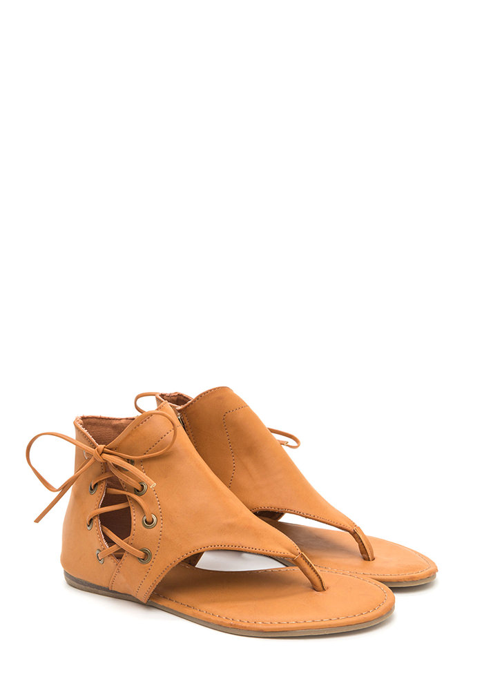 Tie Low Cut-Out Faux Leather Sandals TAN