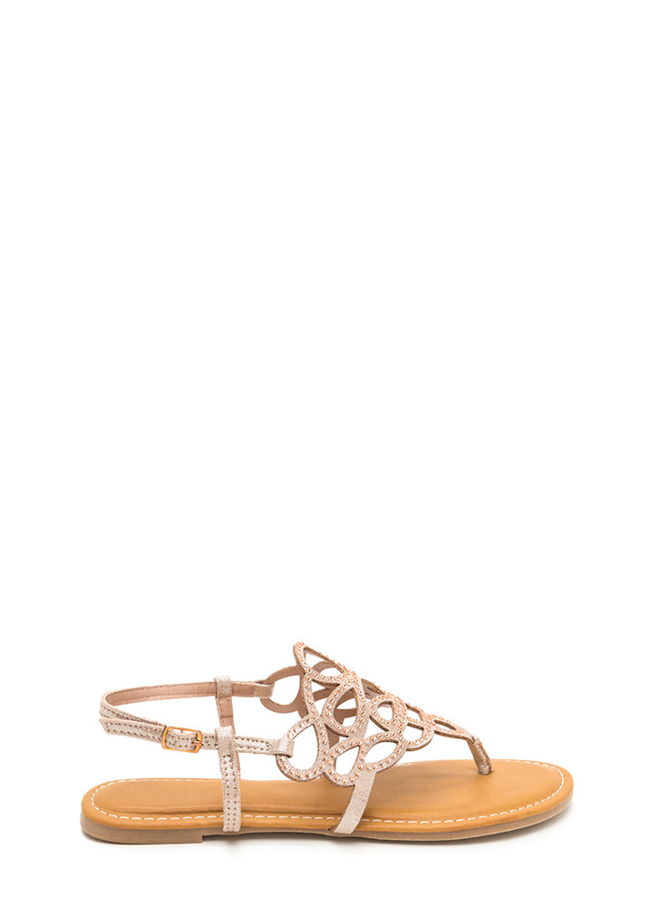 Gilded Love Cut-Out Metallic Sandals ROSEGOLD
