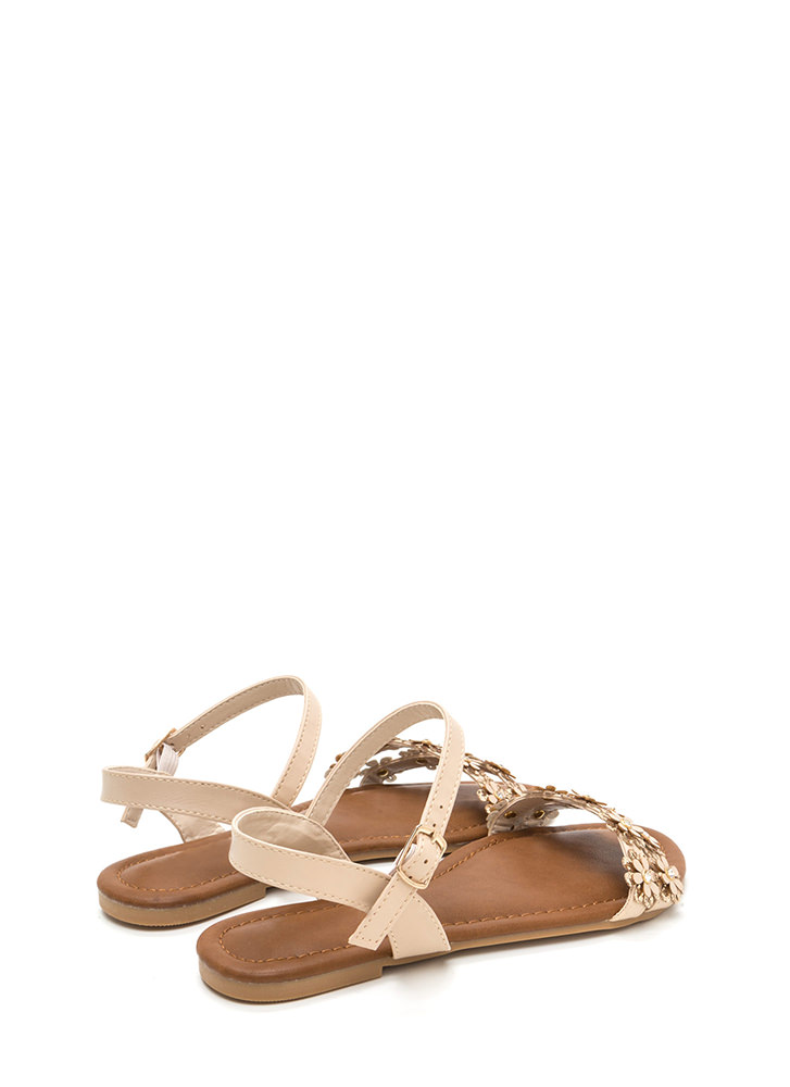 Did It Fleur You Shiny Strappy Sandals NUDE