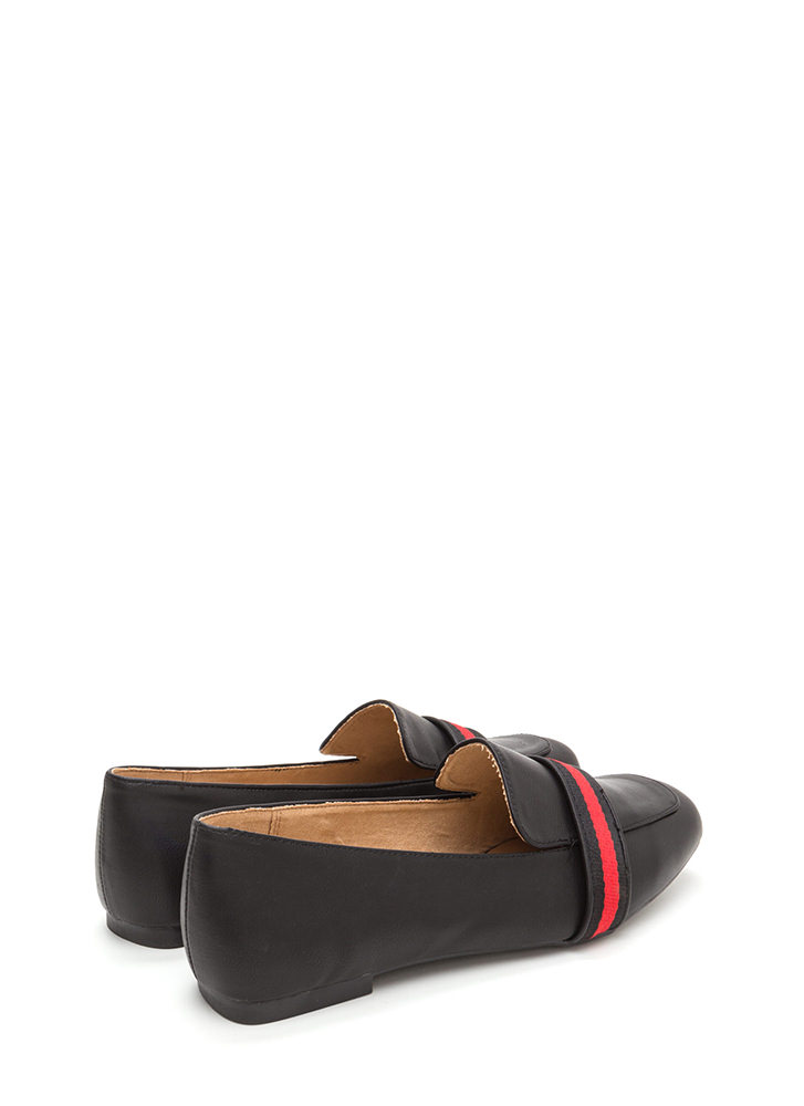 Prep School Striped Faux Leather Loafers BLACK
